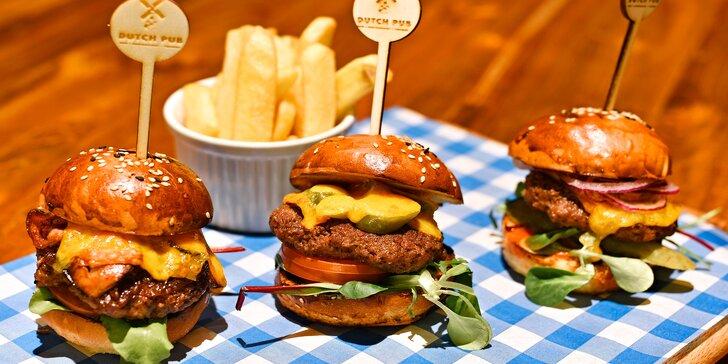 Trojitý zásah: tři domácí miniburgery, hranolky a domácí tatarka pro 1 i 2 os.