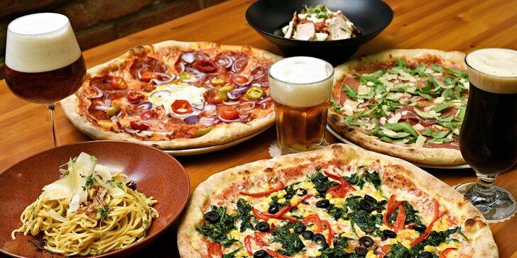 Jídlo pro jednoho i partu: pizza podle výběru z 15 druhů nebo těstoviny výběrem ze 4 verzí