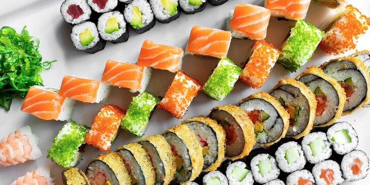 56 či 72 kousků sushi v Porubě klidně i s sebou: kreveta, losos v tempuře i tuňák California