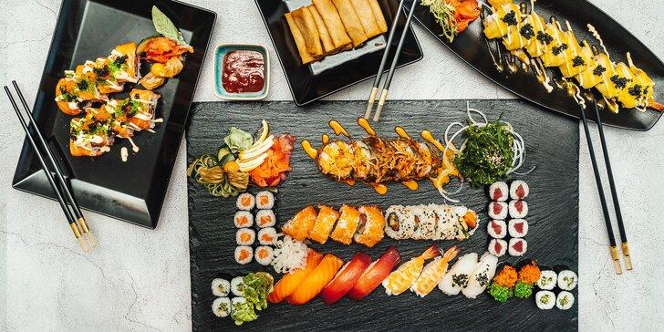 Sushi sety s až 58 ks: maki, nigiri, velké smažené rolky i minizávitky a mořské řasy