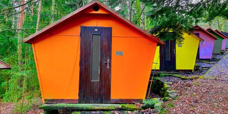 Až v 15 dní v barevné chatičce v Posázaví: možnost polopenze a sportovní areál