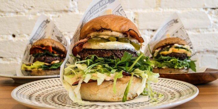 Burger podle výběru z 9 druhů a opečené brambory pro 1 nebo 2 osoby