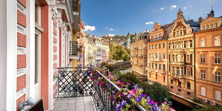 Pobyt v centru Karlových Varů s výhledem na kolonádu: historický hotel, wellness i procedury