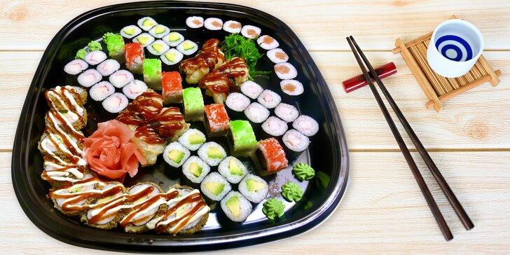 Sushi sety s rybami i vegetariánské: 24 až 60 rolek s lososem, tuňákem, chřestem aj.