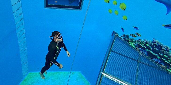 Kurz freedivingu v 8 metrů hluboké jámě pro 1, pro 2 či celou rodinu