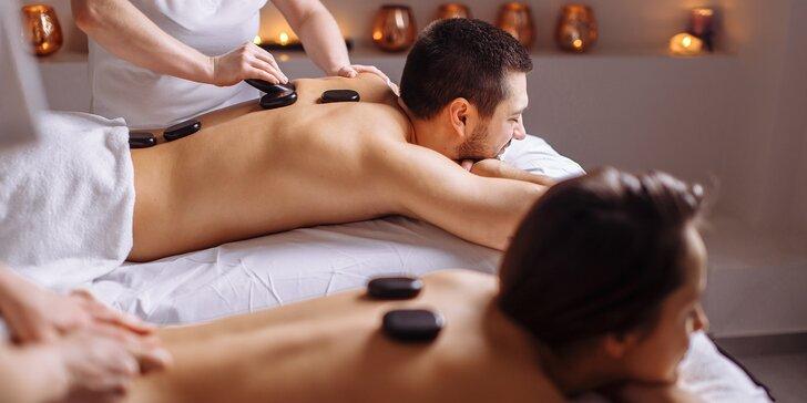 Párová relaxační masáž celého těla včetně relaxace s lávovými kameny