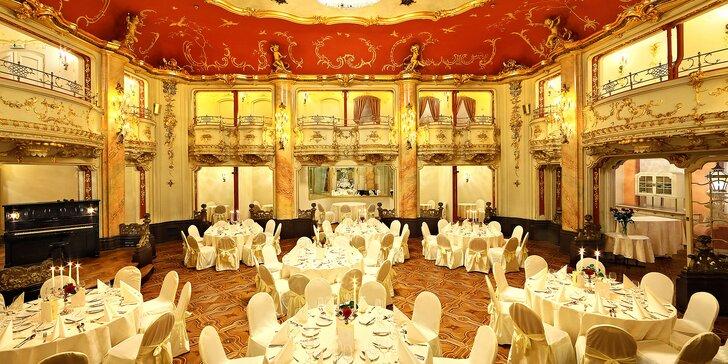 3chodové menu, nápoje a koncert Mozartovy hudby v krásném sále Boccaccio