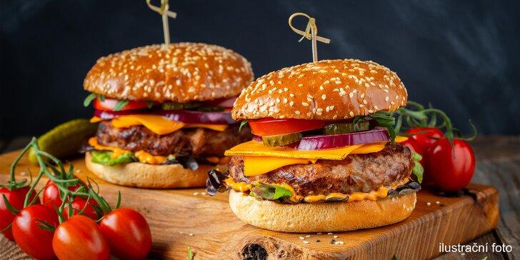 Hovězí hamburger nebo cheeseburger s BBQ omáčkou pro jednoho i pro dva