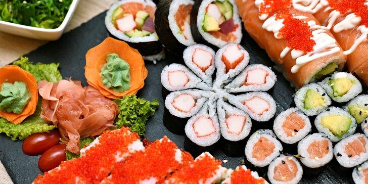 Set 24, 32, 40 nebo 46 kusů sushi i s wakame salátem a nápoji