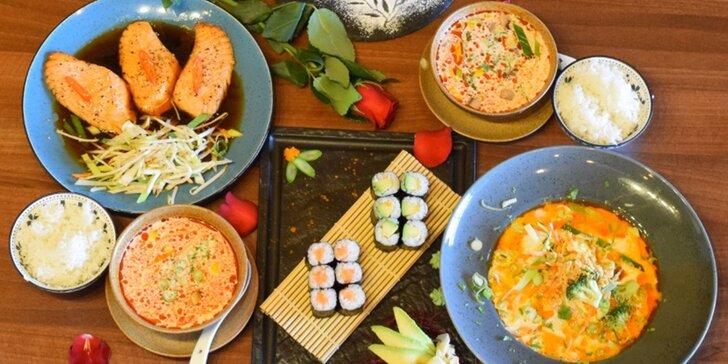 Vietnamsko-thajské menu pro 2 osoby: sushi, polévka, losos, kari i dezert