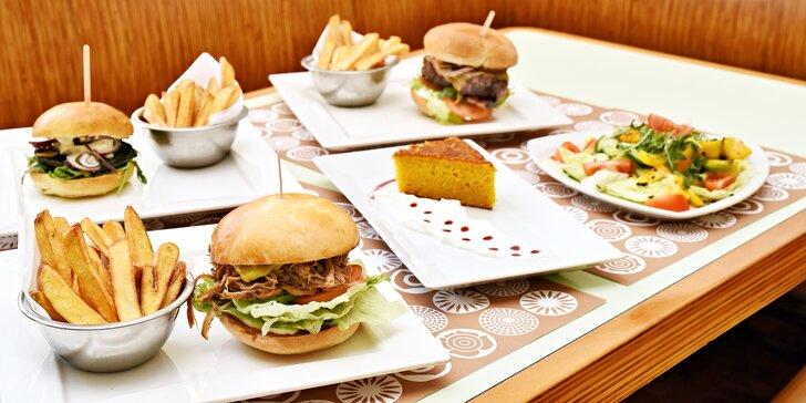 Lákavé menu s burgerem podle výběru pro 1 nebo 2 hladovce