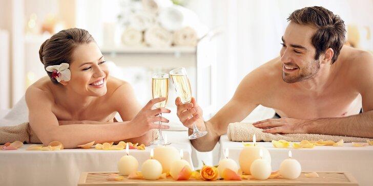 Odpočiňte si společně: až 90min. relaxační romantická párová masáž a lahev Bohemia sektu