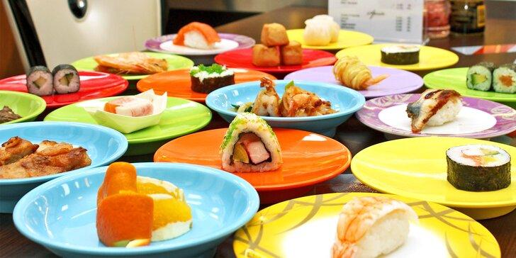 2hod. asijská hostina: running sushi plné dobrot pro dospělého i dítě