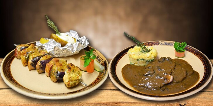 Hostina v gotické restauraci pro dva: menu se špízem či kančím s hříbky