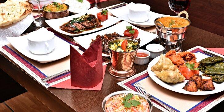 Tříchodové menu s indickými a thajskými pokrmy až pro 4 osoby