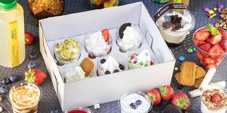 Rande či family boxy plné mraženého jogurtu s čokoládou, pistáciemi, Oreo a Lotus sušenkami i jahodami