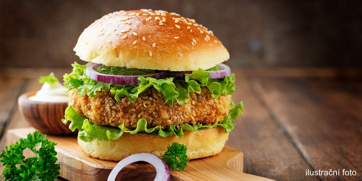 Oběd s sebou: burger dle výběru nebo quesadilla s nápojem pro jednoho či dva