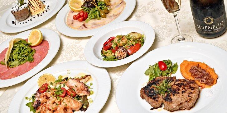 3chodové degustační menu pro 2 osoby u Václaváku: carpaccio, mořské plody či steak, dezert i prosecco