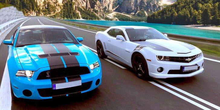 Za volantem nabušeného sporťáku: 30–60 min. jízdy snů ve voze Mustang GT nebo Camaro SS
