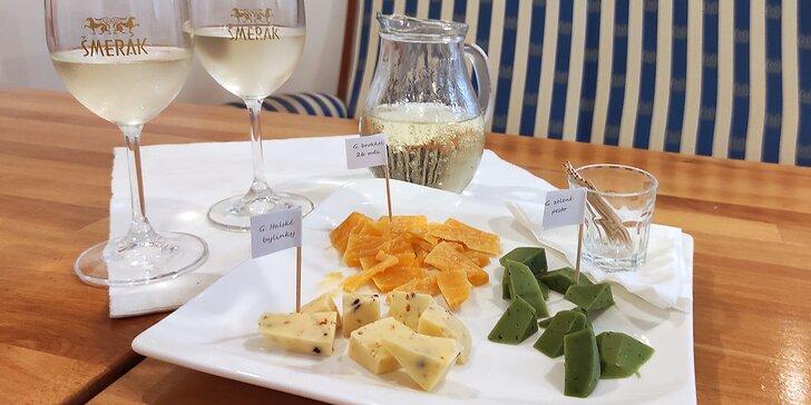 Posezení ve vinárně: 0,5 l vína z rodinného vinařství a občerstvení dle výběru