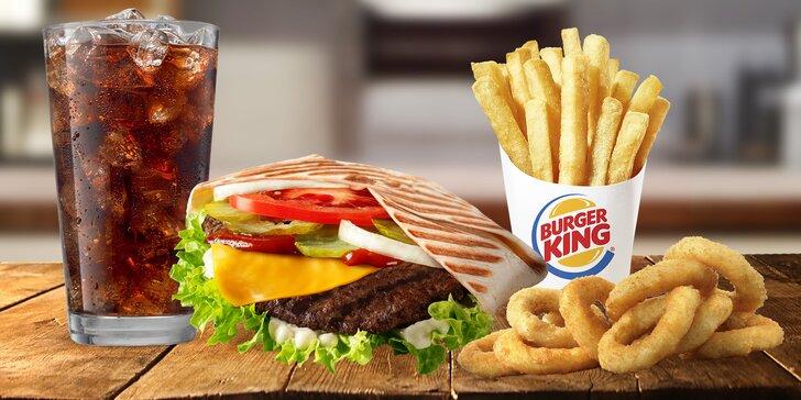 Voucher na 1 + 1 menu zdarma v Burger Kingu: pocket wrap box s kuřecím či hovězím