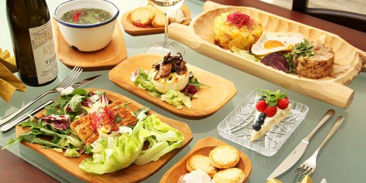 5chodové menu pro 2: hovězí polévka, losos nebo trhané vepřové i koláč