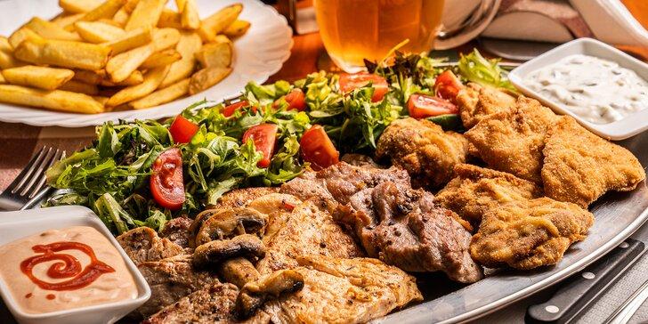 Mísa řízečků i grilovaného masa vč. příloh až pro 4 osoby