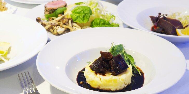 Podzimní degustační menu o 8 chodech pro pár: kančí líčka i kachní prsa