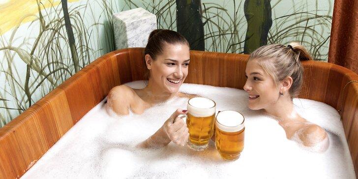 2hodinový odpočinek v pivních lázních pro 1 či 2 osoby: koupel, sauna a pivo