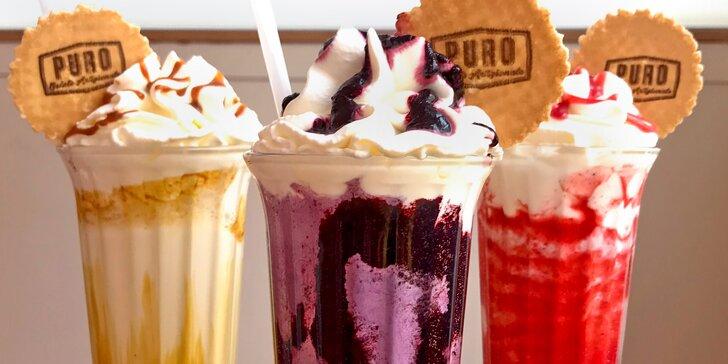 Puro Gelato v Karlíně: čokoládový, borůvkový, jahodový nebo karamelový milkshake pro 1 či 2 osoby