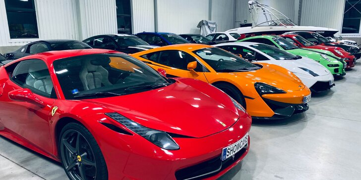 Jízda ve Ferrari, Lamborghini, Mustang SHELBY, Nissan GT-R, Porsche nebo Subaru