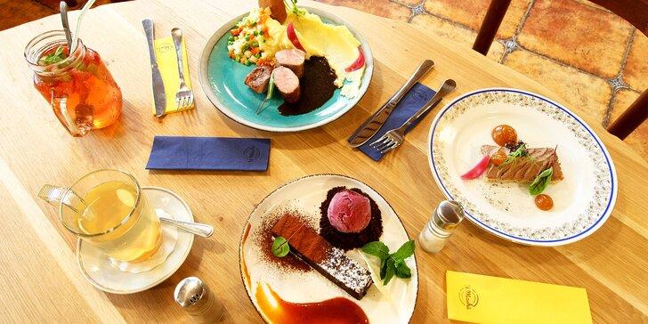 3chodové degustační menu U Machů pro 1 i 2 osoby: kachní paštika, grilovaná panenka, čokoládové brownies