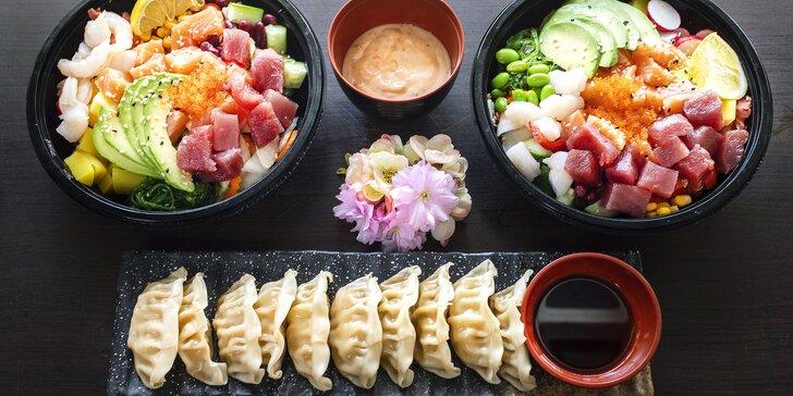 Asie s sebou: poke bowl s rybou či krevetami a dim sum knedlíčky pro 1 nebo 2 osoby
