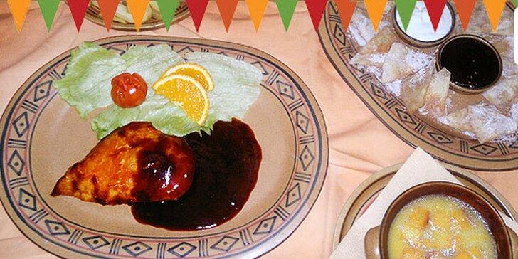 269 Kč za 3chodové mexicko-italské menu PRO DVA. Nachos, vepřová panenka a tiramisu. V nabídce i kuřecí menu s polévkou, kuřecími prsy a sopapillas!