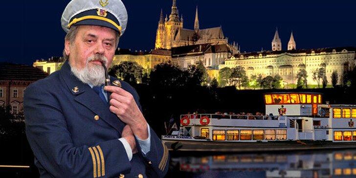 """Romantická dvouhodinová plavba po Vltavě včetně aperitivu abohatého """"all you can eat"""" rautu! Báječný zážitek s živou hudbou na palubě."""