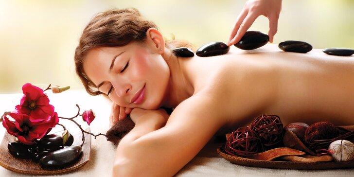 90minutová relaxační masáž zad, obličeje, šíje, dekoltu a trapézu lávovými kameny
