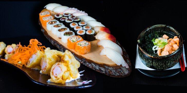 Degustační japonské menu pro 2 osoby: polévka, tempura z krevet, 30 ks sushi