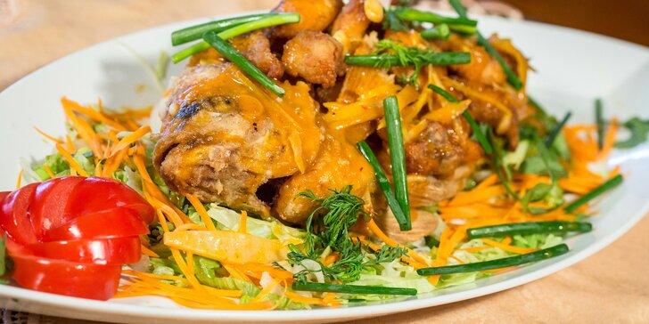 3chodové asijské menu s rybí pečínkou pro 2 osoby v Restauraci Via