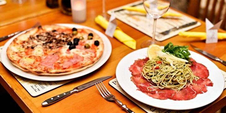 Dvě pizzy či těstoviny a dva nealko nápoje v italské restauraci Lascala