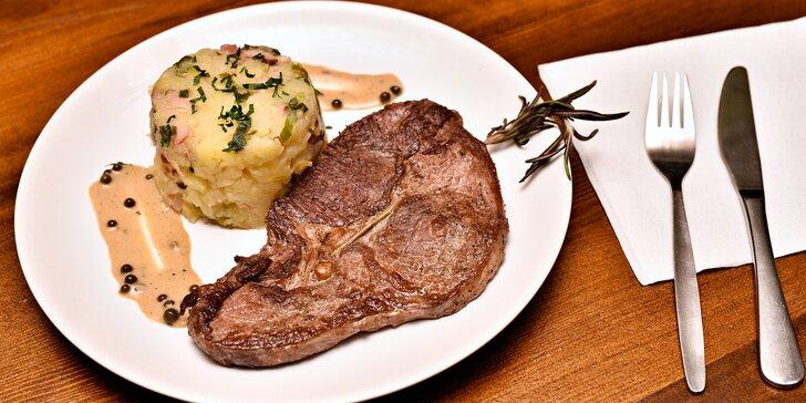 Masové hody v restauraci U Parléře: 300g rumpsteak s přílohou pro 1 či 2 jedlíky