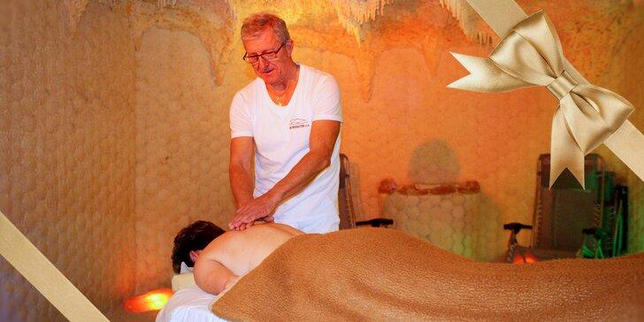 30minutová masáž šíje v solné jeskyni se solí z Mrtvého moře