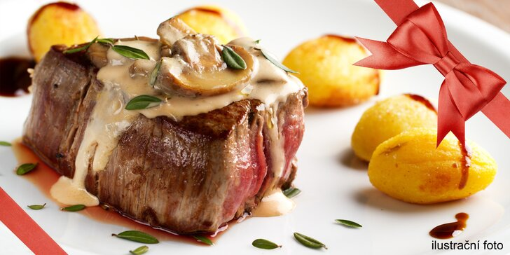 Hovězí hody: 250g flank steak s vybranou přílohou