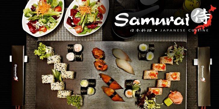 Autentické japonské menu: Polévka, salát, 38 kousků sushi a dezert pro 2