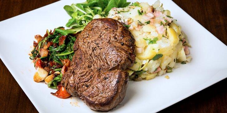 Koncert skvělých chutí: 4chodové menu s hovězím steakem pro 2