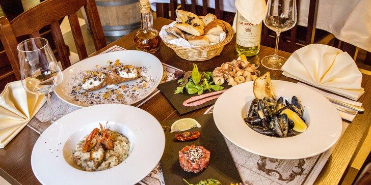 5chodové degustační menu s masem nebo mořskými plody pro dva