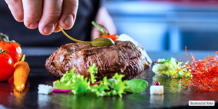 Netradiční steaky: 4hodinový kulinářský kurz ve studiu Šelma v kuchyni