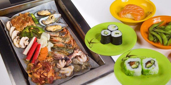 3 hodiny neomezeného hodování – running sushi a grilování na stole
