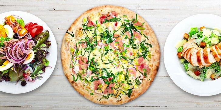 Pizza, saláty i těstoviny - 2 či 3 libovolné pokrmy vč. rozvozu po Holešovicích