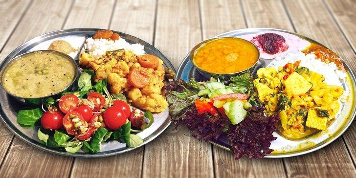 4chodové vegetariánské menu All You Can Eat v indickém stylu