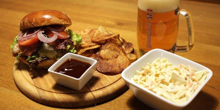 1 nebo 2 burgery dle výběru ze široké nabídky i ve vegetariánské verzi